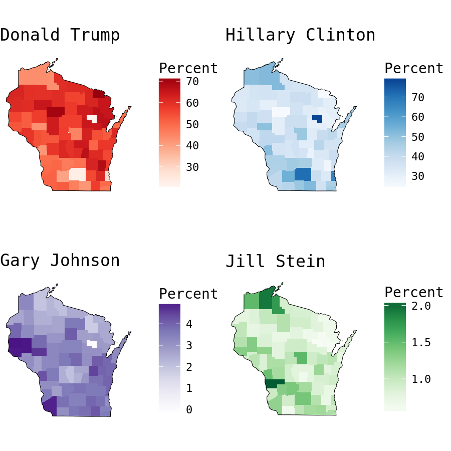plot of chunk Wisconsin Presidential Election Results by County