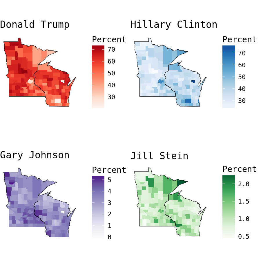 plot of chunk Wisconsin and Minnesota Presidential Election Results by County